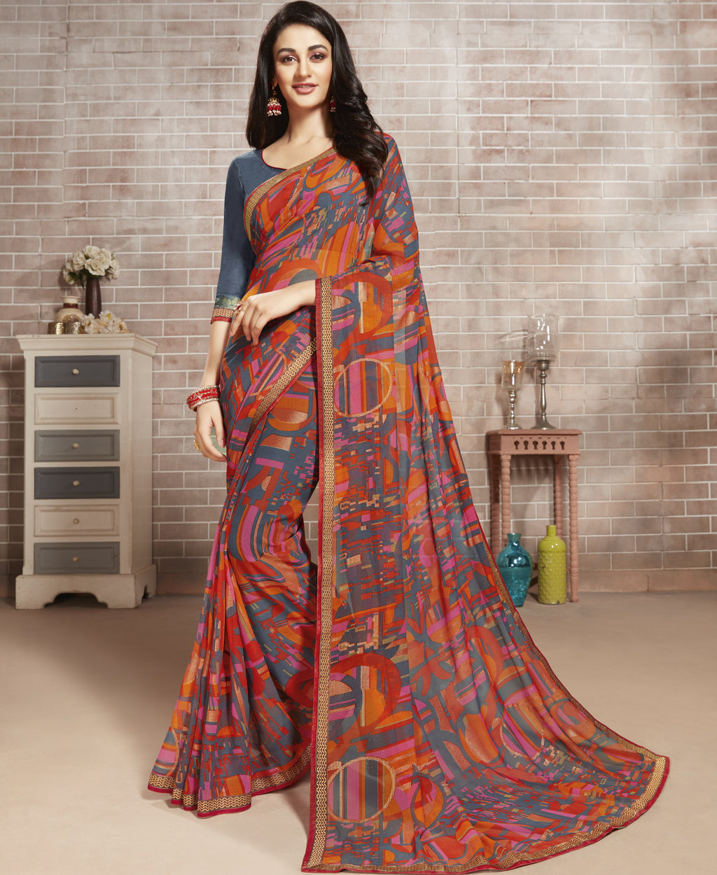 Multi Color Georgette Lovely Office Wear Sarees NYF-6225