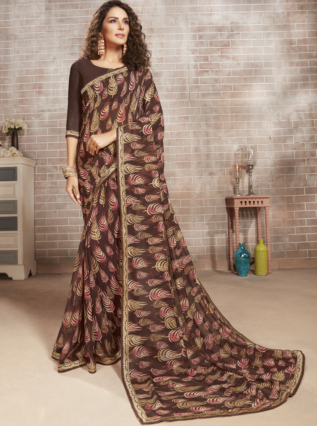 Brown Color Georgette Lovely Office Wear Sarees NYF-6226