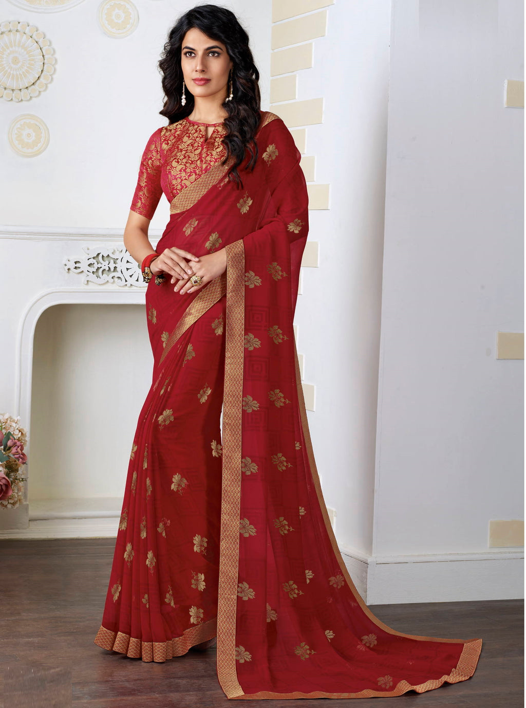 Red Color Chiffon Pretty Kitty Party Sarees NYF-4212 - YellowFashion.in