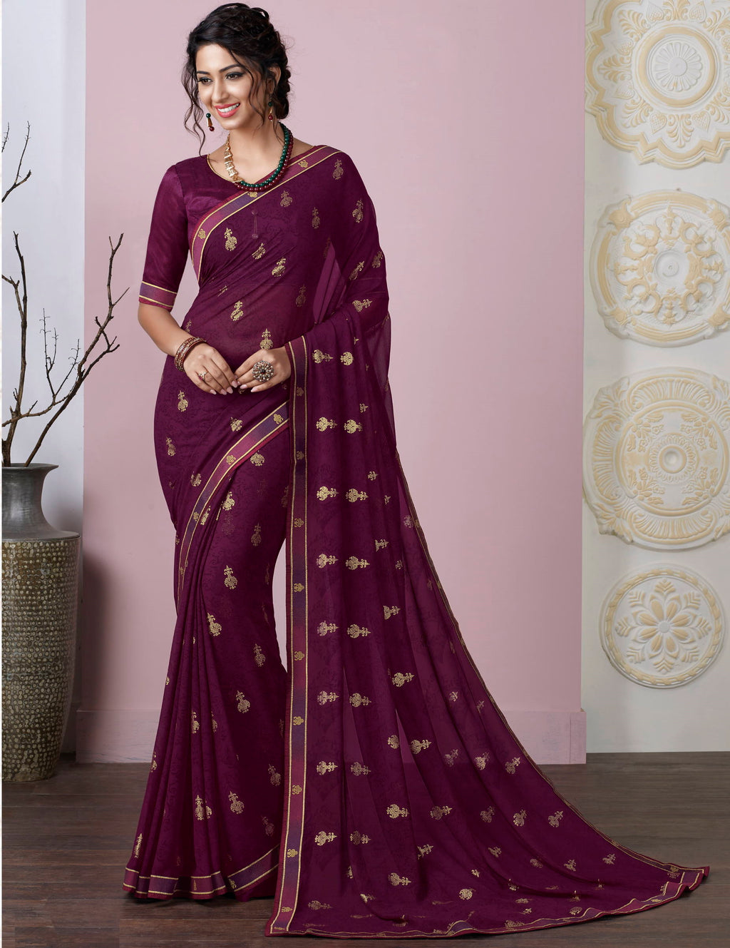 Purple Color Chiffon Pretty Kitty Party Sarees NYF-4214 - YellowFashion.in