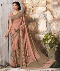 Peach Color Crepe Casual Function Sarees : Karnika Collection  YF-40717
