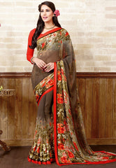 Brown Color Georgette Casual Wear Sarees : Manvira Collection  YF-48992