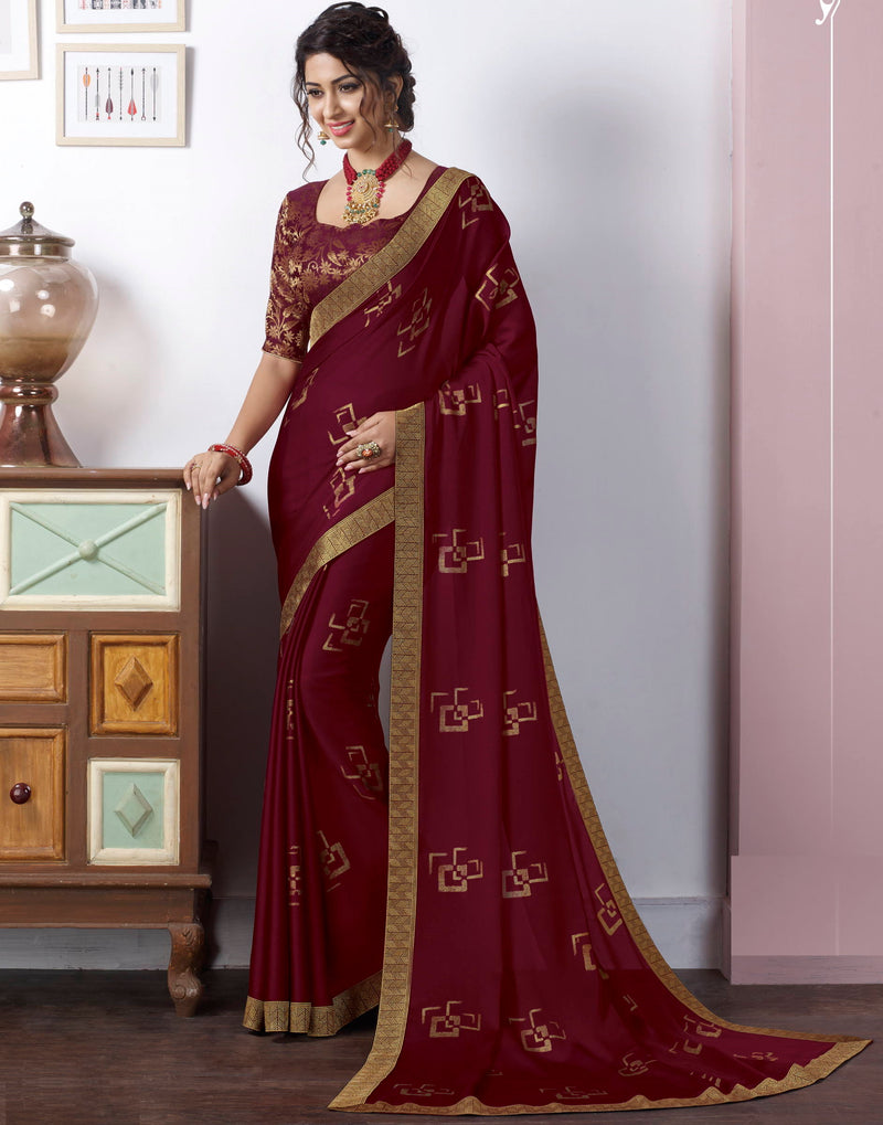 Maroon Color Chiffon Pretty Kitty Party Sarees NYF-4219 - YellowFashion.in