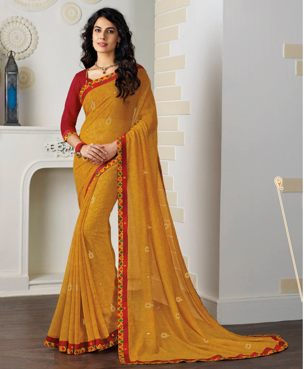 Yellow Color Chiffon Pretty Kitty Party Sarees NYF-4221 - YellowFashion.in