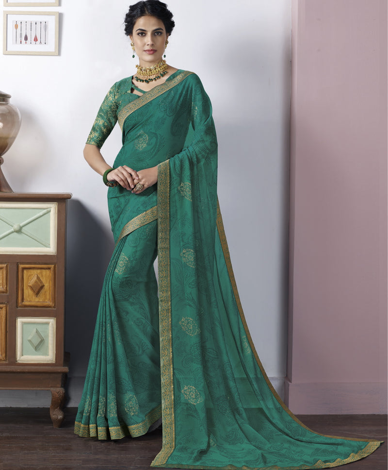 Green Color Georgette Beautiful Party Wear Sarees NYF-6531
