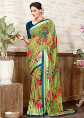 Green Color Georgette Casual Wear Sarees : Manvira Collection  YF-48993