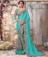Aqua Blue & Grey Color Crepe Casual Function Sarees : Karnika Collection  YF-40743