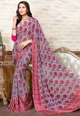 Orange & Pink Color Georgette Casual Wear Sarees : Manvira Collection  YF-48996