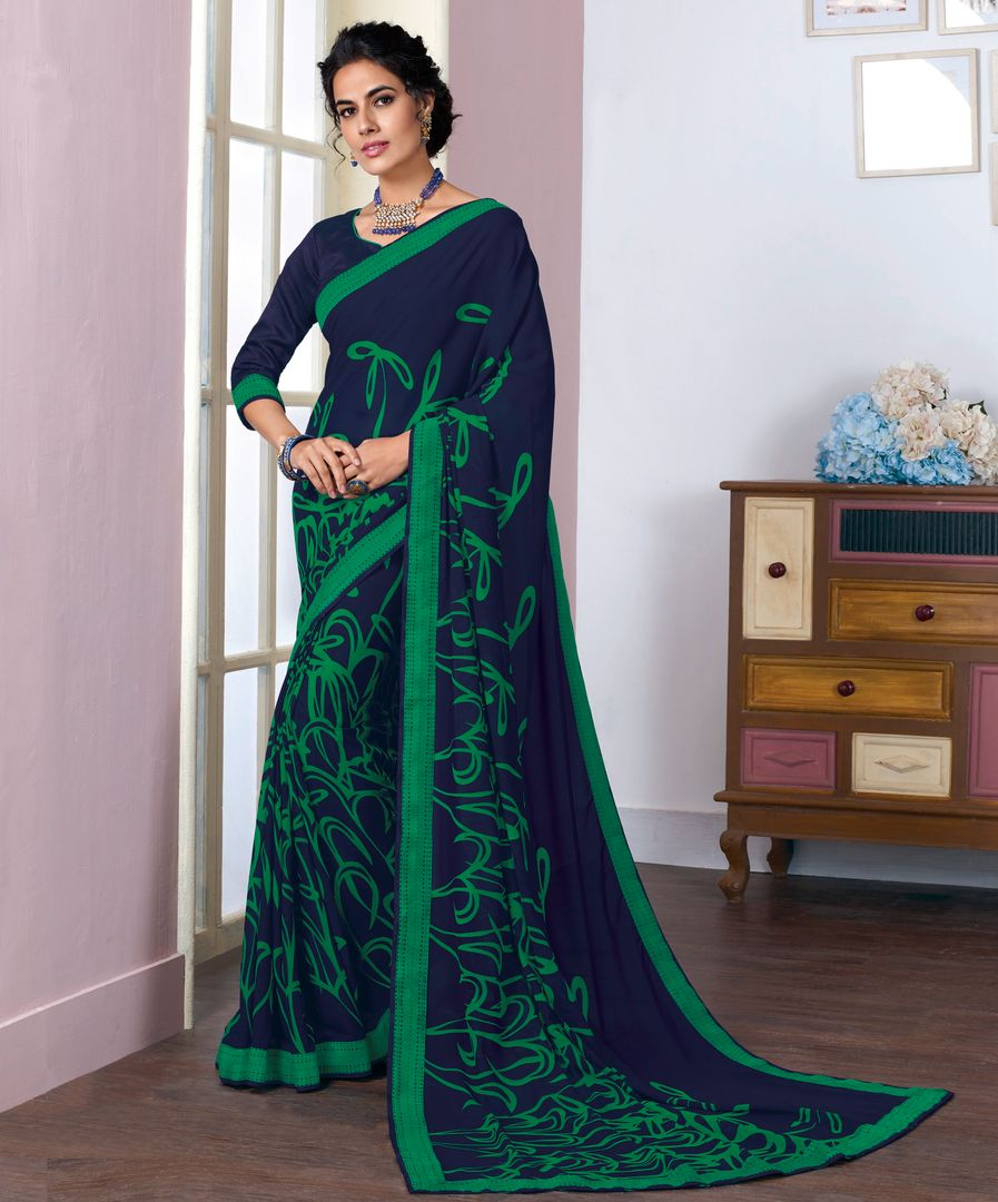 Blue & Green Color Georgette Kitty Party Sarees NYF-3807 - YellowFashion.in