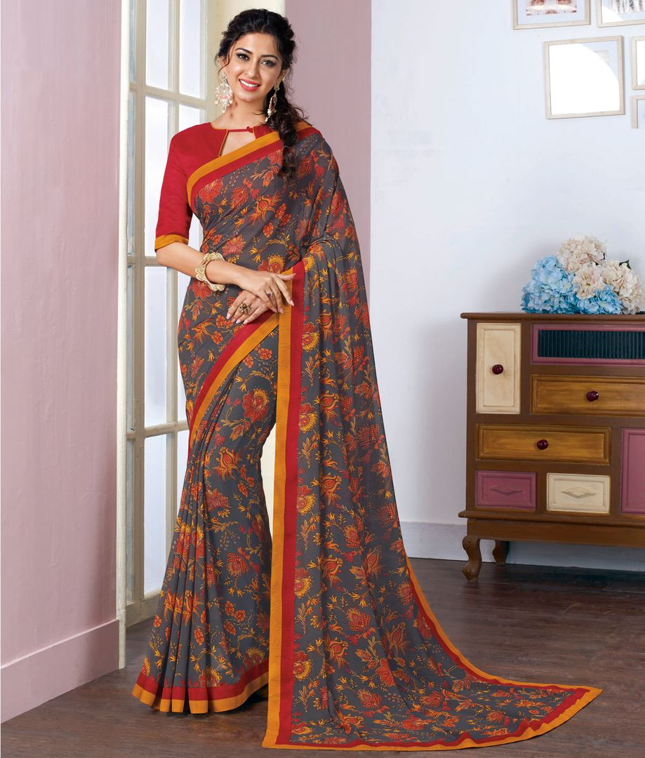 Grey Color Georgette Kitty Party Sarees NYF-3809 - YellowFashion.in