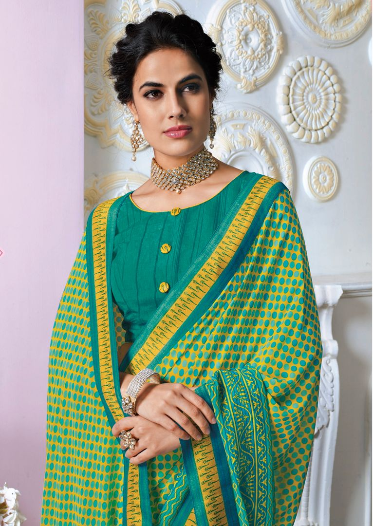 Yellow & Sea Green Color Georgette Kitty Party Sarees NYF-3810 - YellowFashion.in