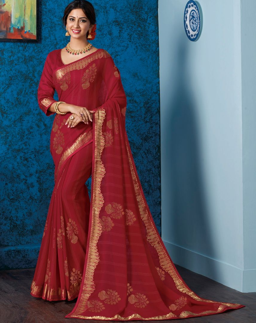 Maroon Color Georgette Beautiful Religious Function Wear Sarees NYF-4503