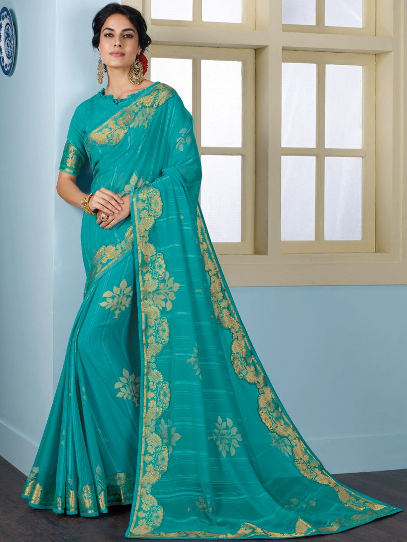 Sky Blue Color Georgette Beautiful Religious Function Wear Sarees NYF-4504