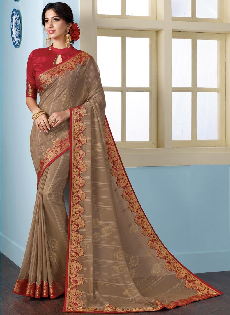 Beige Color Georgette Beautiful Religious Function Wear Sarees NYF-4505