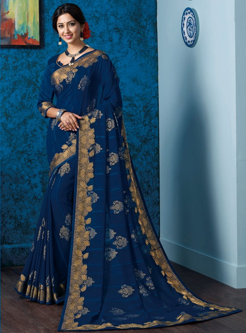 Blue Color Georgette Beautiful Religious Function Wear Sarees NYF-4507