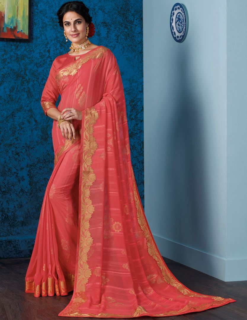 Pink Color Georgette Beautiful Religious Function Wear Sarees NYF-4508