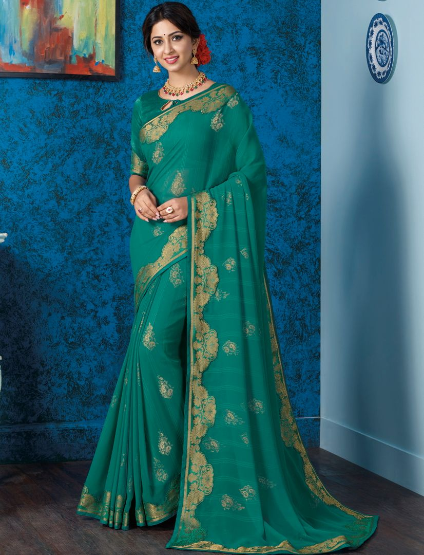 Peacock Green Color Georgette Beautiful Religious Function Wear Sarees NYF-4509