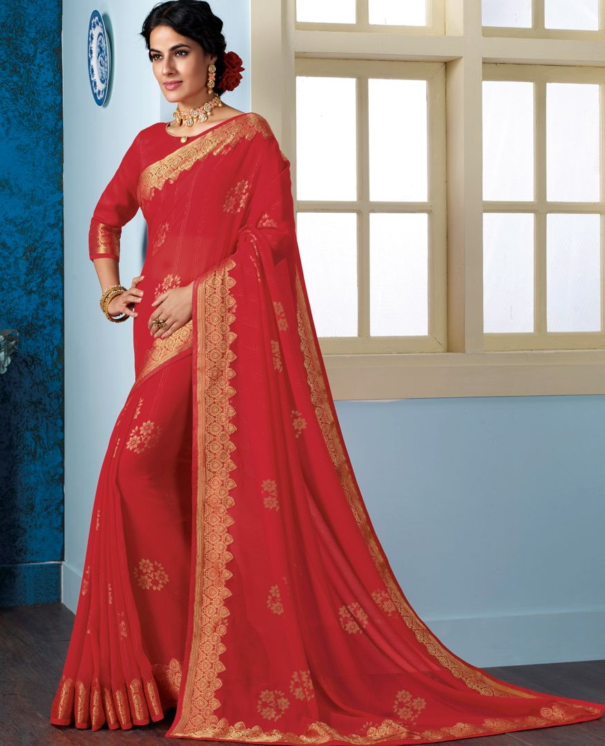 Red Color Georgette Beautiful Religious Function Wear Sarees NYF-4510