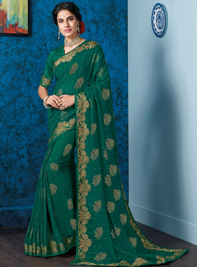 Rama Green Color Georgette Beautiful Religious Function Wear Sarees NYF-4511