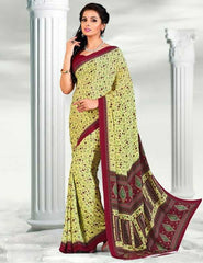 Maroon Color French Crepe Casual Wear Sarees : Virti Collection  YF-26471