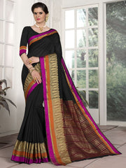 Black Color Blended Cotton Festival & Function Wear Sarees : Avrati Collection  YF-53357