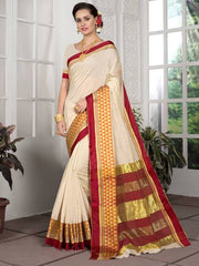 Cream Color Blended Cotton Festival & Function Wear Sarees : Avrati Collection  YF-53358