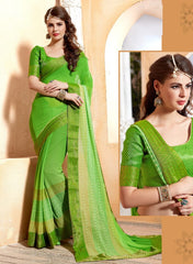 Green Color Georgette Casual Wear Sarees : Samarth Collection  YF-46115