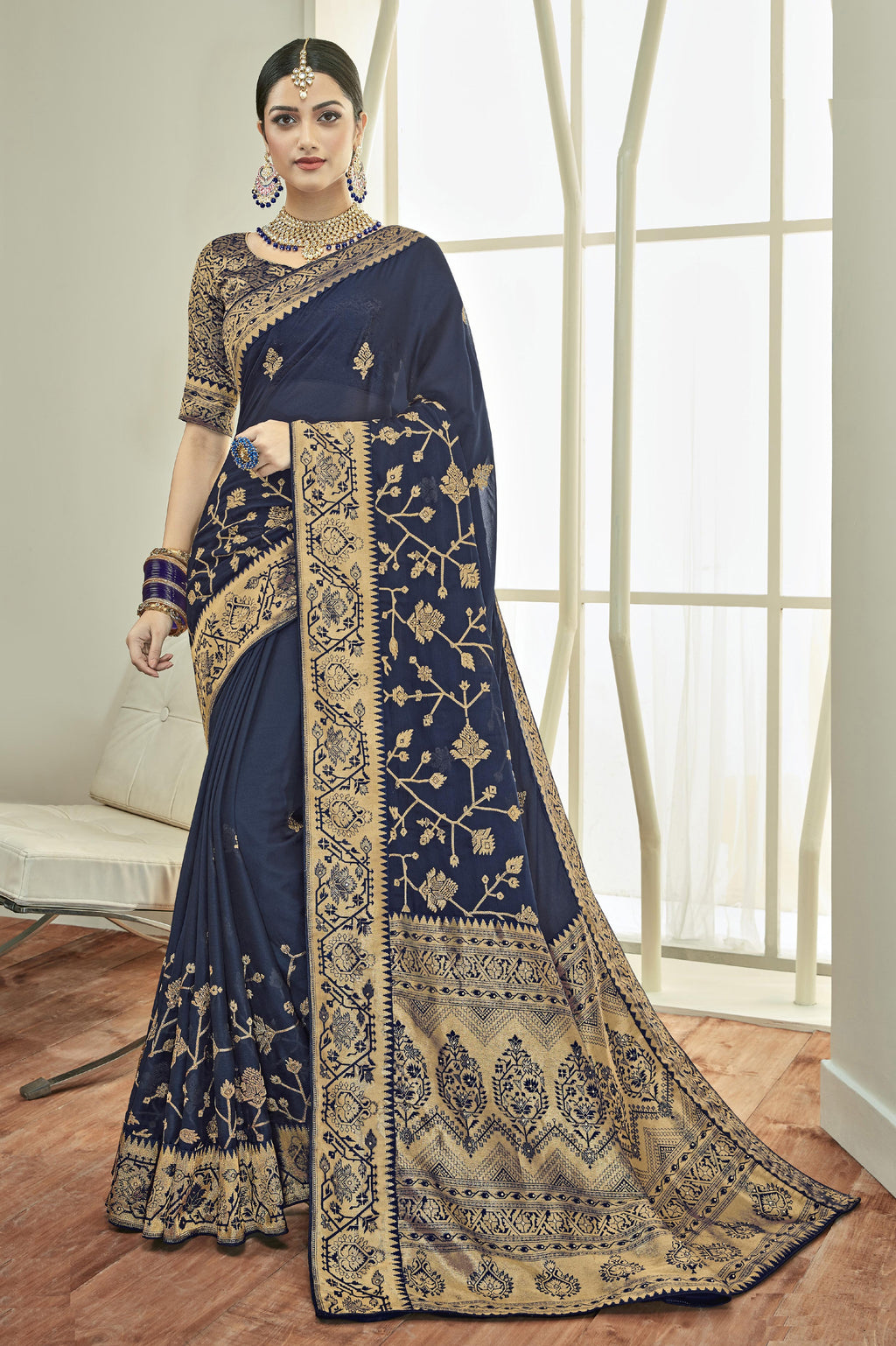 Blue Color Georgette Embroidered Function Wear Sarees NYF-7882