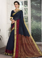 Blue Color Blended Cotton Festival & Function Wear Sarees : Avrati Collection  YF-53360