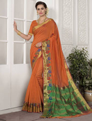 Orange Color Blended Cotton Festival & Function Wear Sarees : Avrati Collection  YF-53361