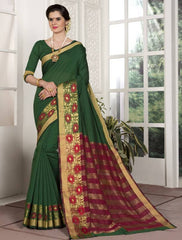 Green Color Blended Cotton Festival & Function Wear Sarees : Avrati Collection  YF-53362