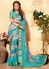 Grey & Firozi Color Georgette Casual Wear Sarees : Samarth Collection  YF-46118