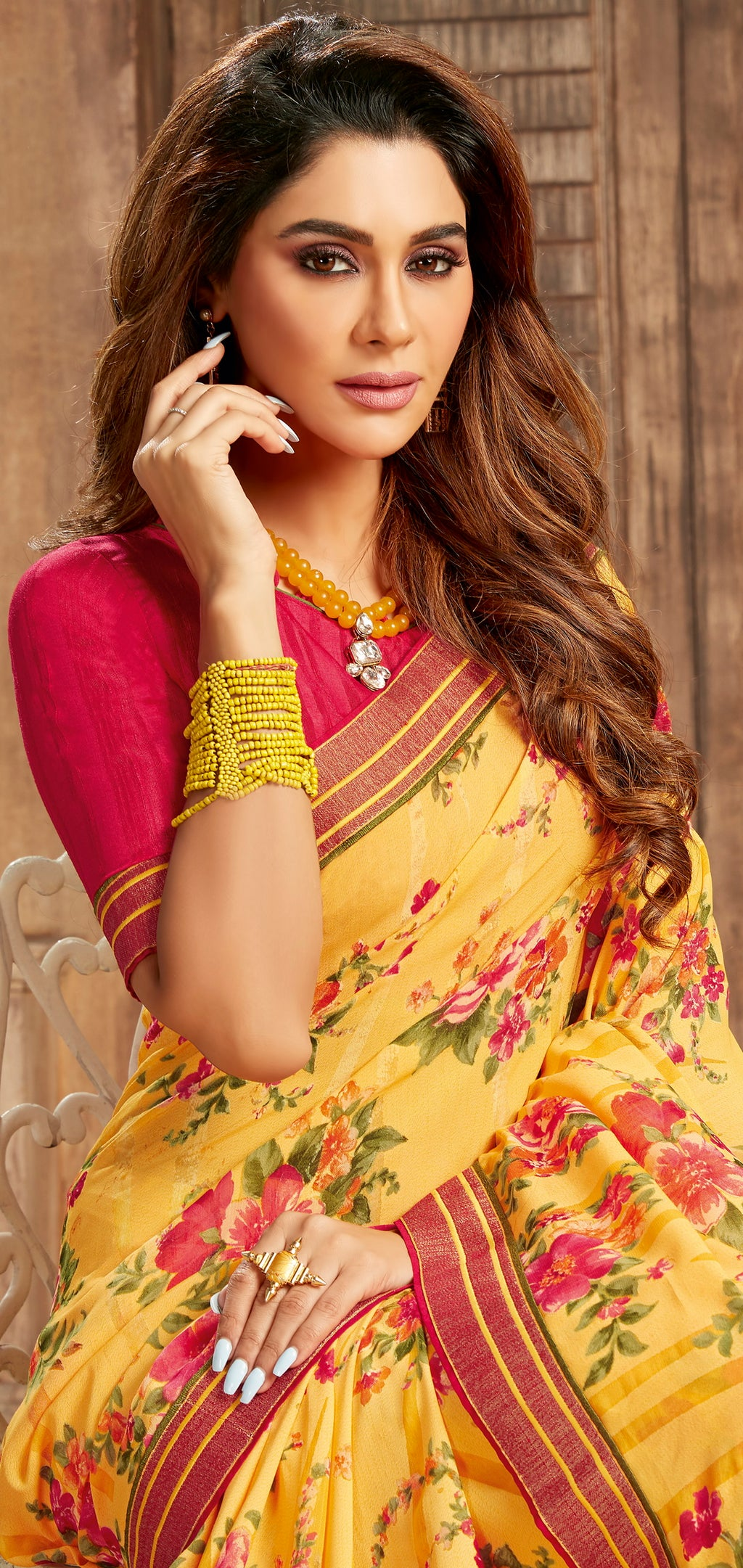 Yellow Color Georgette Floral Print Sarees NYF-5255