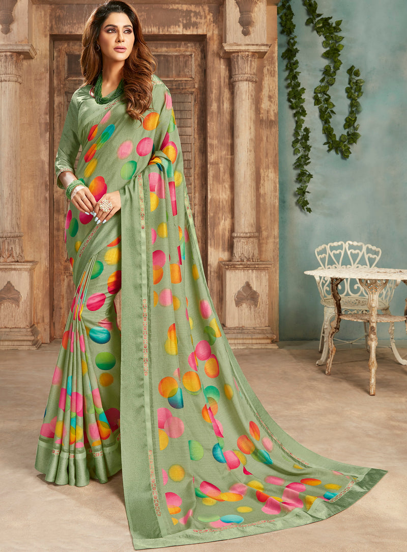 Green Color Georgette Digital Print Sarees NYF-5257