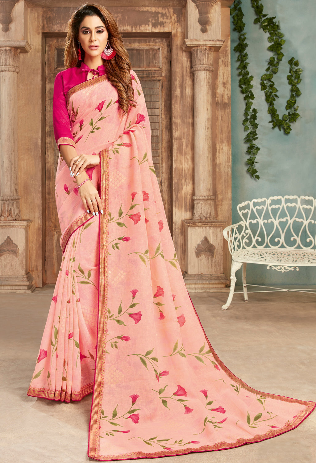 Pink Color Georgette Floral Print Sarees NYF-5258