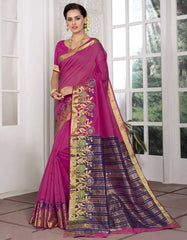 Rani Pink Color Blended Cotton Festival & Function Wear Sarees : Avrati Collection  YF-53363