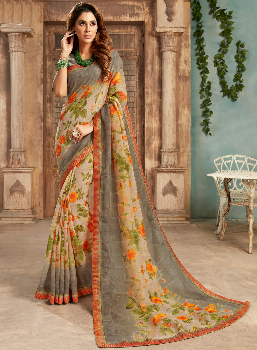 Beige & Grey Color Georgette Floral Print Sarees NYF-5259