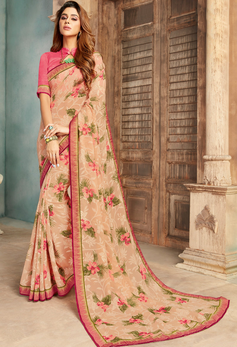 Peach Color Georgette Floral Print Sarees NYF-5261
