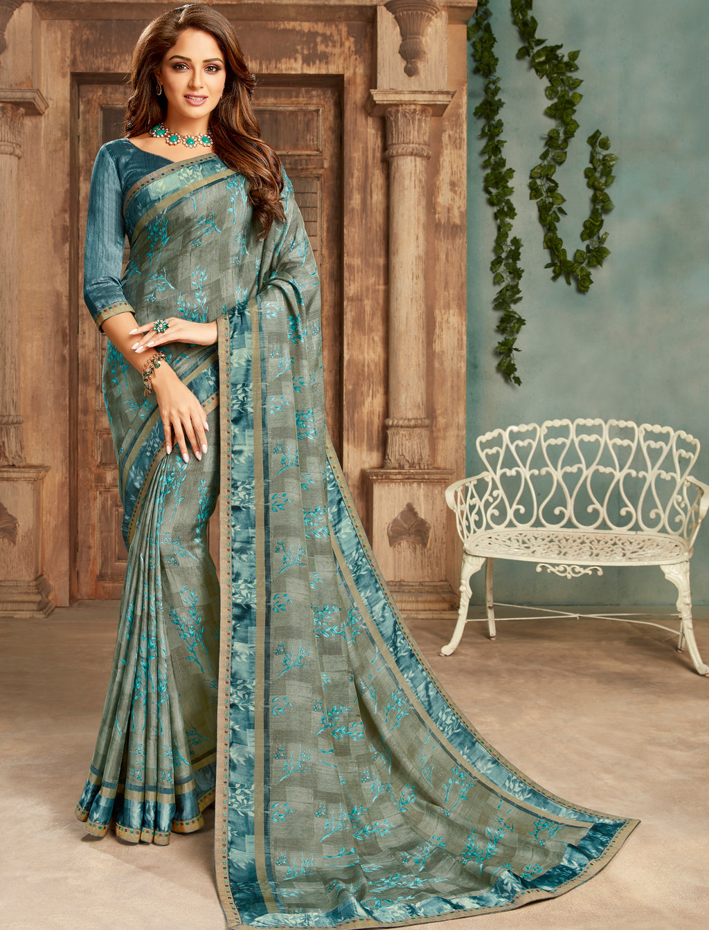 Grey Color Crepe Georgette Floral Print Sarees NYF-5262
