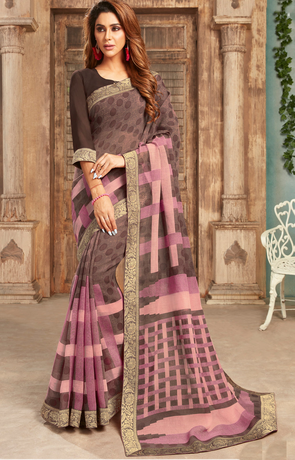 Burgandy & Brown Color Georgette Digital Print Sarees NYF-5263