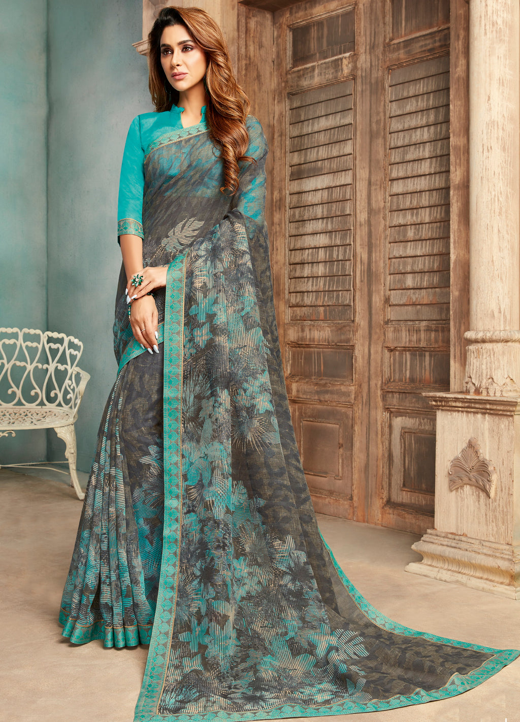 Grey Color Georgette Digital Print Sarees NYF-5265