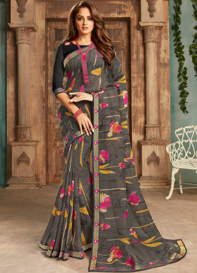 Black Color Georgette Floral Print Sarees NYF-5266