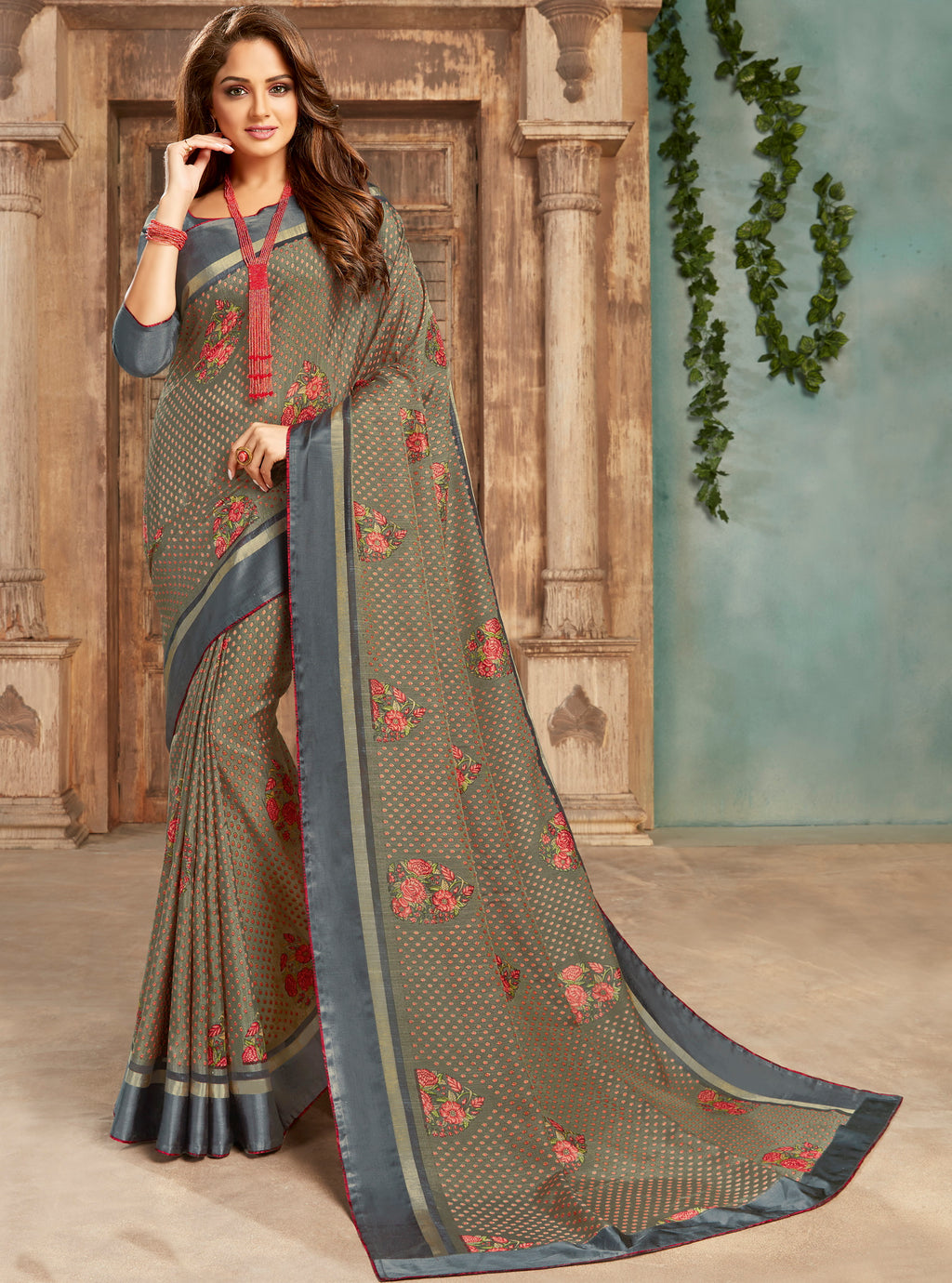Grey Color Crepe Georgette Floral Print Sarees NYF-5267