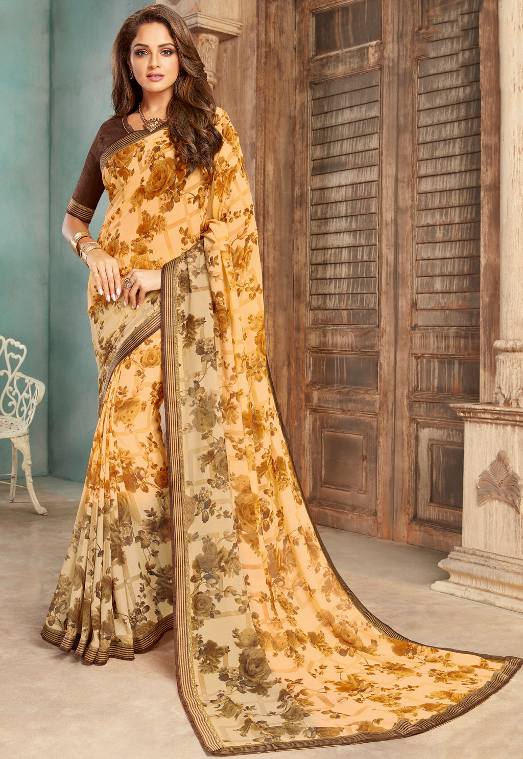Yellow Color Georgette Floral Print Sarees NYF-5268