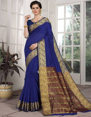 Ink Blue Color Blended Cotton Festival & Function Wear Sarees : Avrati Collection  YF-53364