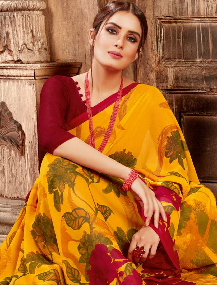 Yellow Color Georgette Digital Print Sarees NYF-4512