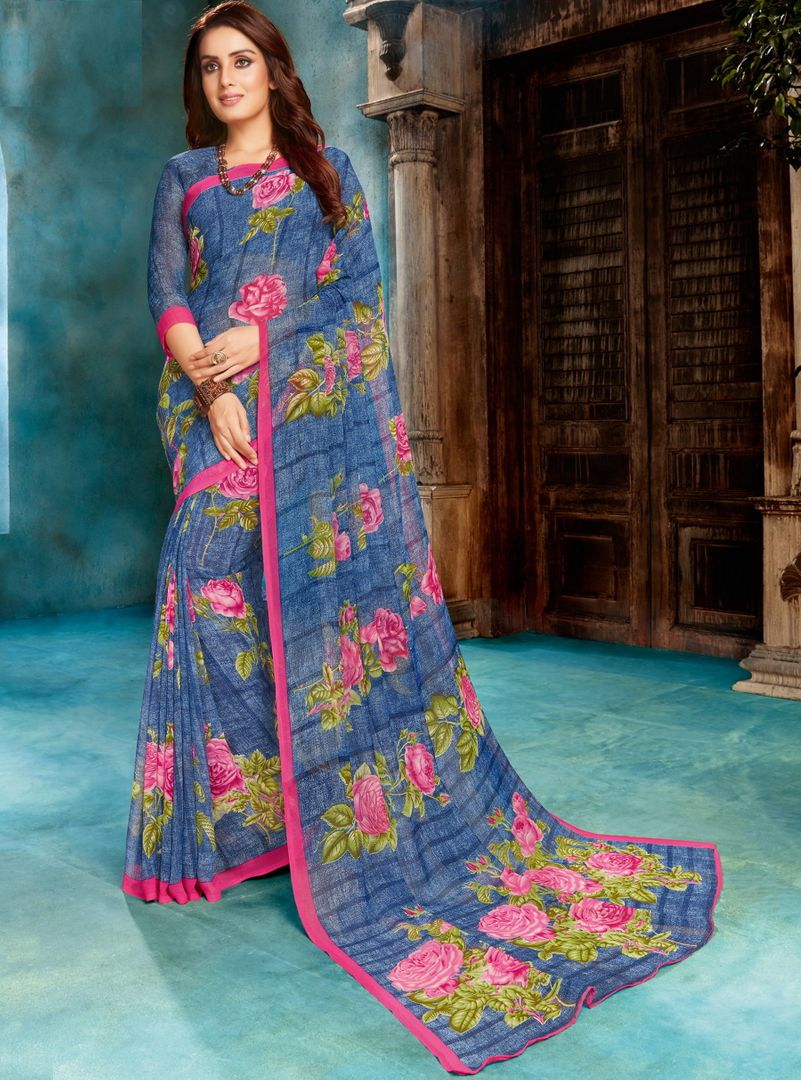 Blue Color Georgette Floral Print Sarees NYF-4513