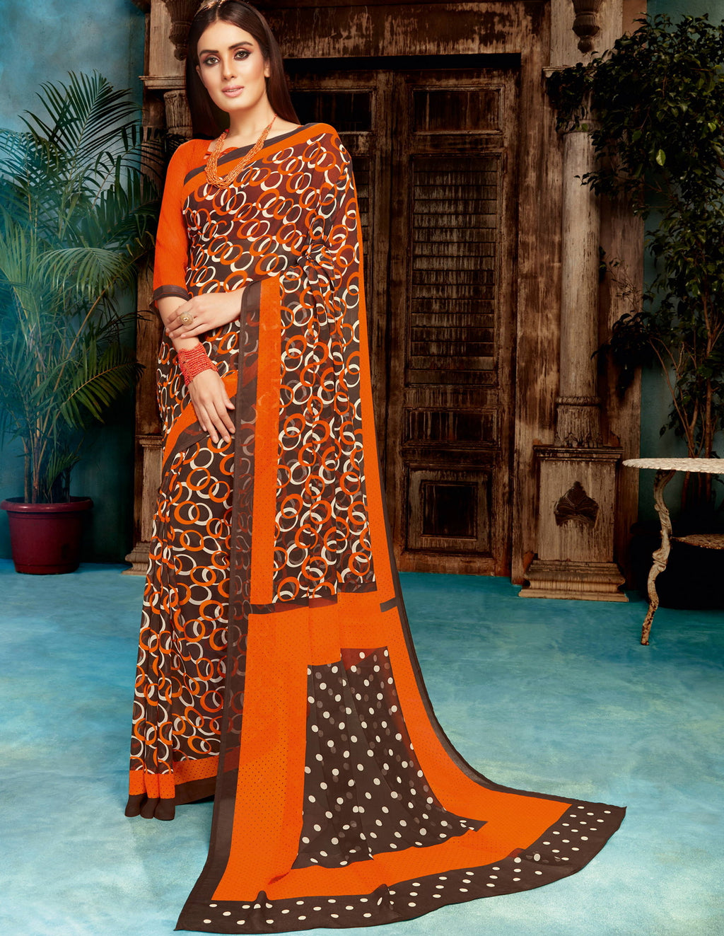 Orange & Brown Color Georgette Printed Sarees NYF-4514