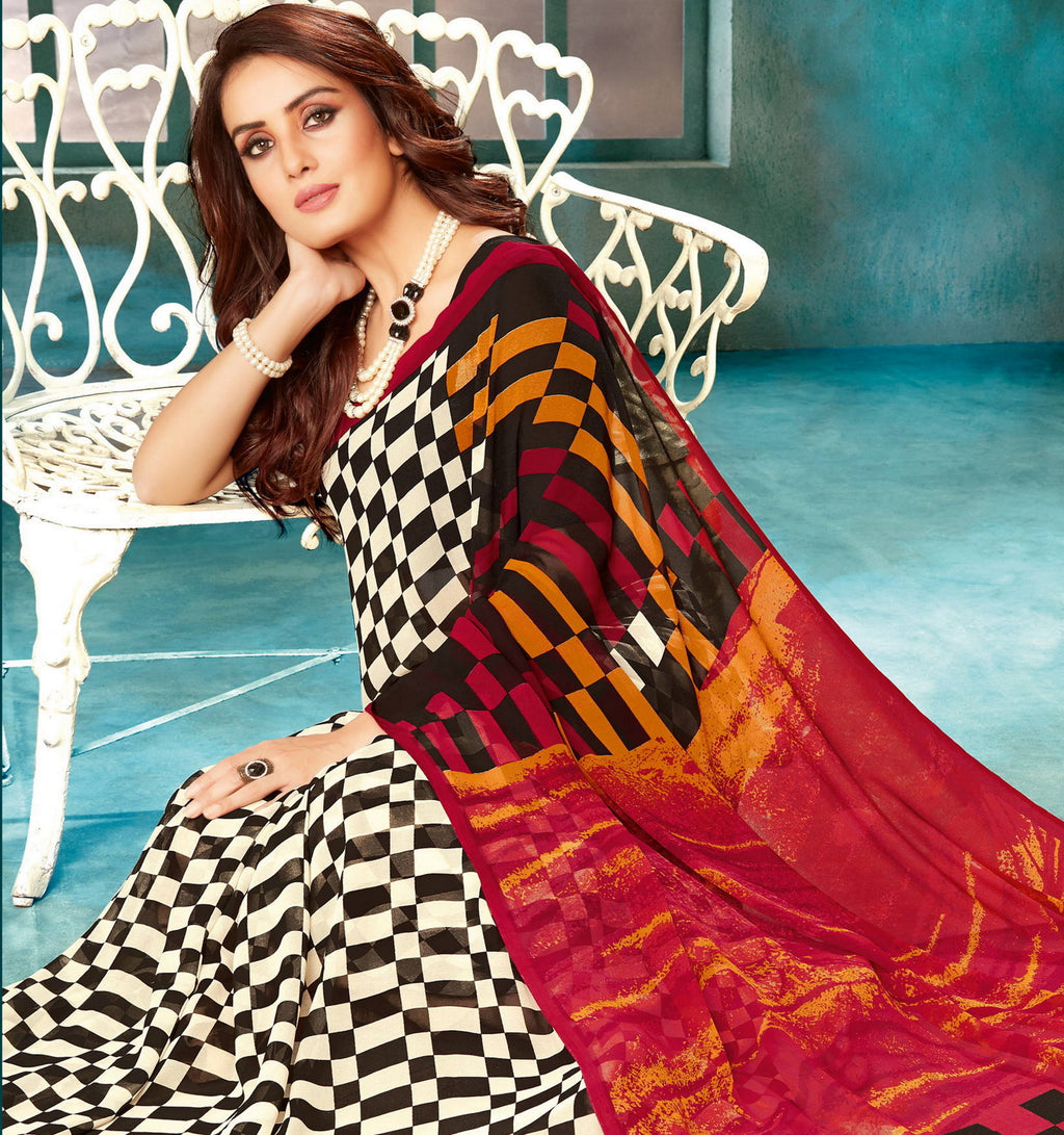Multi Color Georgette Checks Printed Sarees NYF-4515
