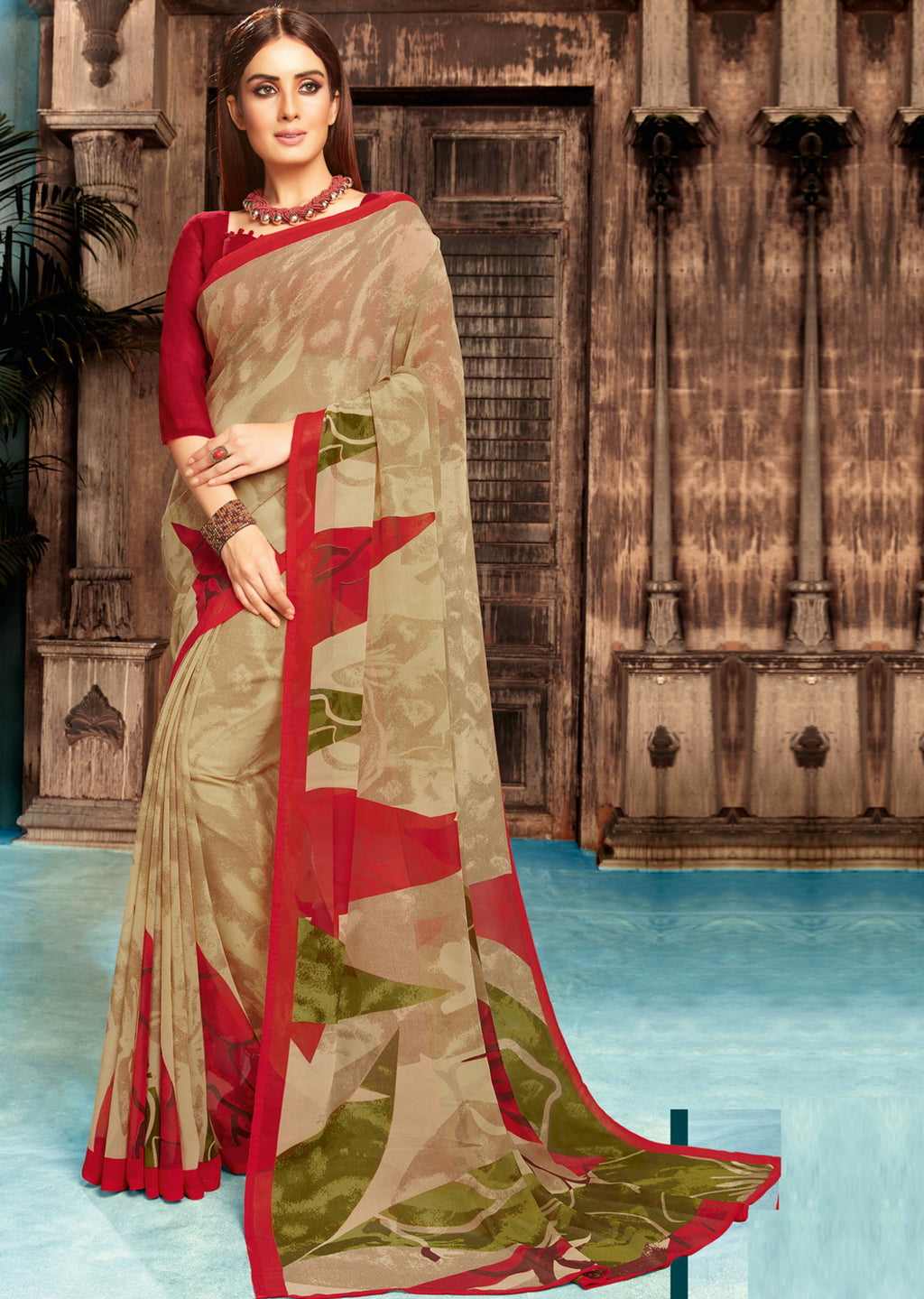 Beige Color Georgette Digital Print Sarees NYF-4517